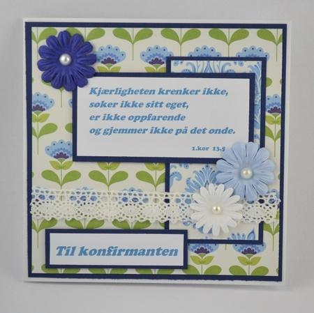 Kort til konfirmant nr 03 Handmade card