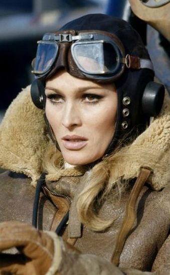 Ursula Andress in her aviator jacket~ Love it~