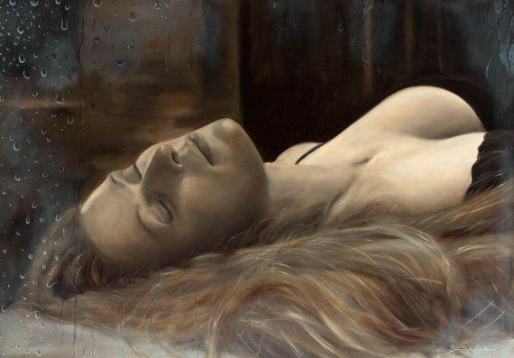 Original oil figure painting  Derrière la Fenêtre  by JipeLeclercq, €1000.00