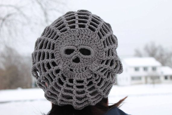 Homemade slouchy crocheted skull beanie by Zestex on Etsy