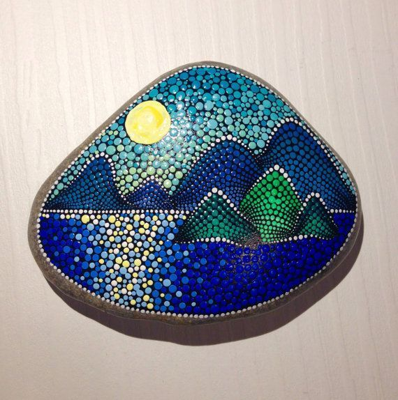 Sunset above the sea Painted stone painted rock Fairy garden marker decoration stone art dotilism blue