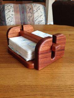 Napkin holder made of mahogany