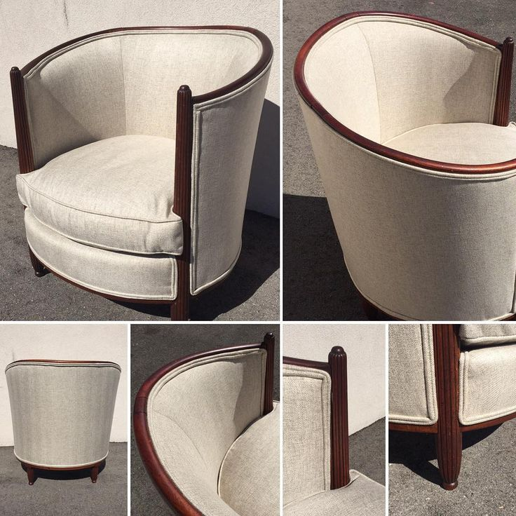 One of two exceptional 1930's period mahogany French tub chairs. Extraordinary timeless style, sweeping curves, reeded arms and legs. Professionally restored and upholstered in a neutral oatmeal.  #french #frenchfurniture #tubchair #vintage #vintagefurniture #clean #timeless #mahogany #design #interiordetails #decor #interiorstyling #torontoliving  #forsale at #contextdesign #1200castlefieldavenue #toronto #designdistrict