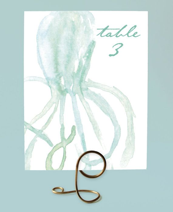 Beach Wedding, Watercolor Octopus Table Numbers by Leveret Paperie