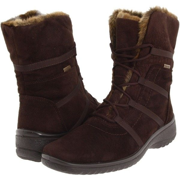 ara Magaly GORE-TEX Women's Lace-up Boots ($235) ❤ liked on Polyvore featuring shoes, boots, water proof boots, gore tex shoes, short heel boots, ara boots and laced boots