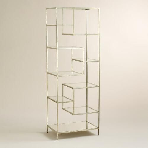 Burnished Metal and Glass Asymmetrical Kali Shelf - 25+ Best Ideas About Glass Bookcase On Pinterest Ikea Hackers