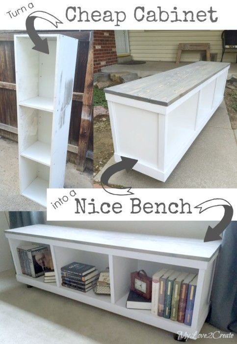 Cheap cabinet repurposed into a bench from My Love 2 Create for MyRepurposedLife.com