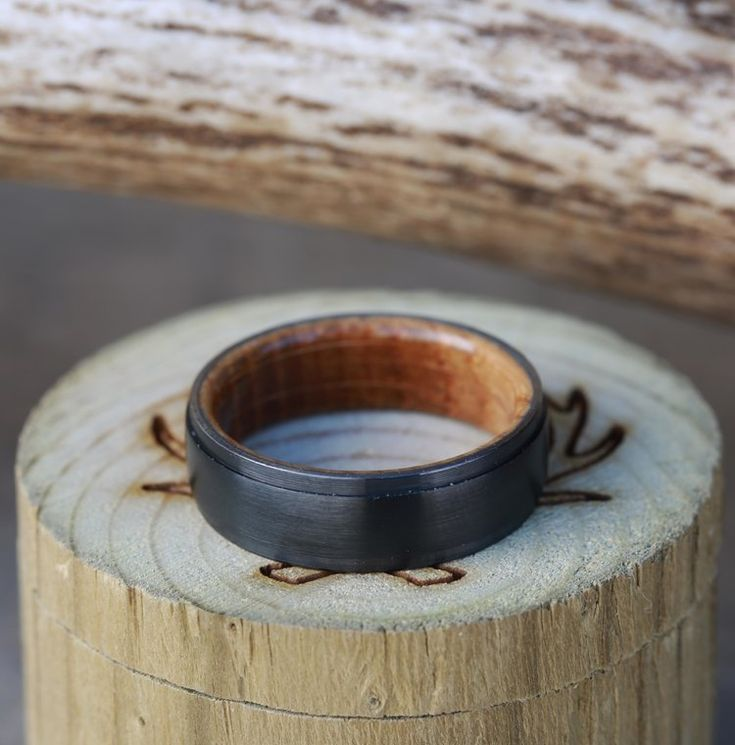 Custom Made Black Zirconium & Whiskey Barrel Wood Wedding Band. Handcrafted by Staghead Designs.