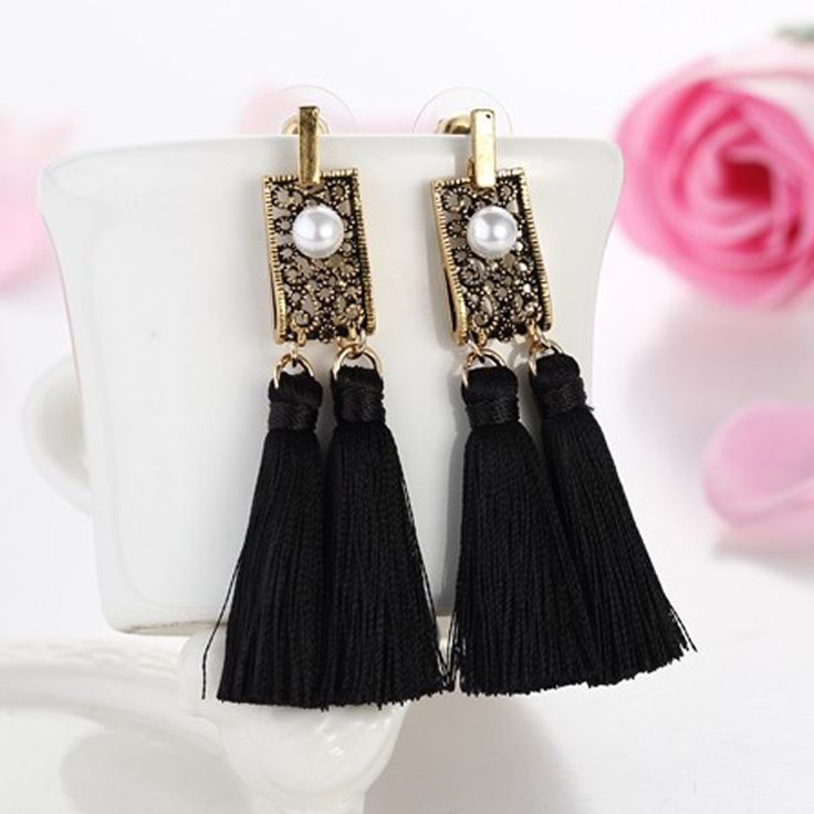 2016 Fashion Vintage Hollow Out Metal Pearl Jewelry Royal Unique Double Long Tassel Earrings Pendients For Elegant Women Brincos