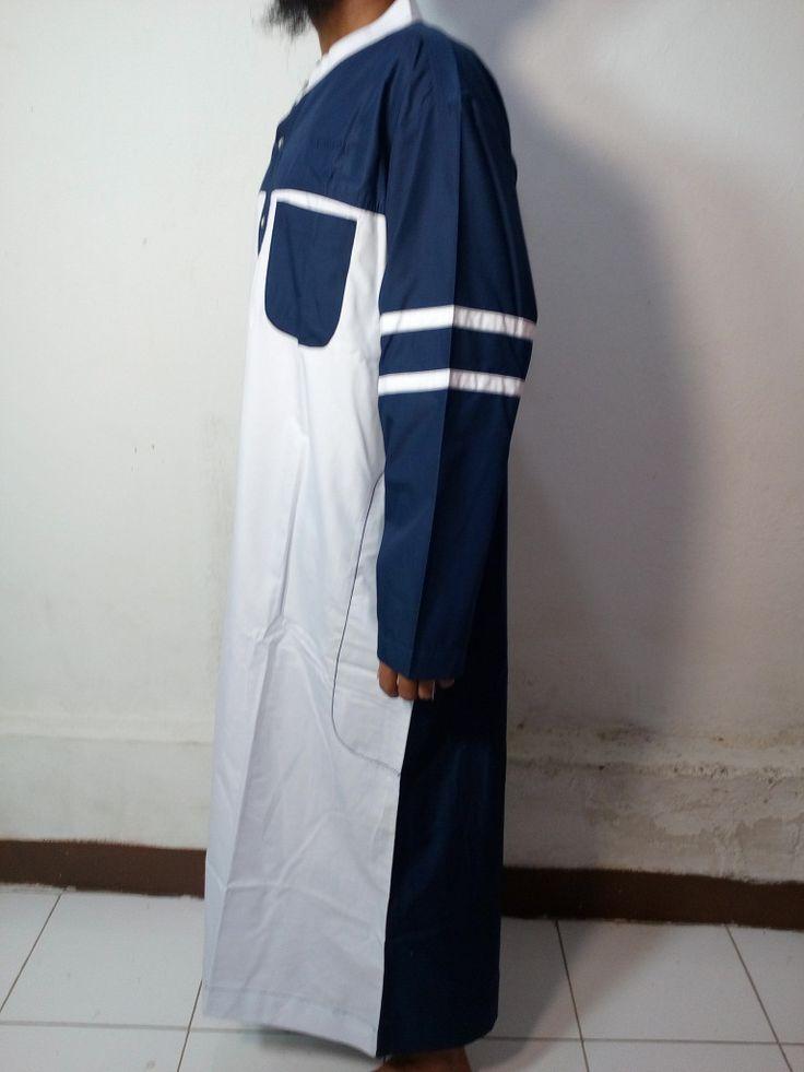 Baju Kurung Laki-Baju Gamis Atas Mata Kaki-Baju Jubah Pria Warna putih-biru Dongker Lengan Garis-Baju Muslim Samase