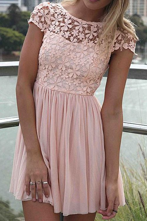 Short Sleeve Crochet Flower Spliced Dress