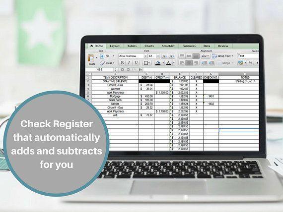 Check Register Checkbook Register Excel Money Tracker Expense Etsy Checkbook Register Check Register Budget Planner