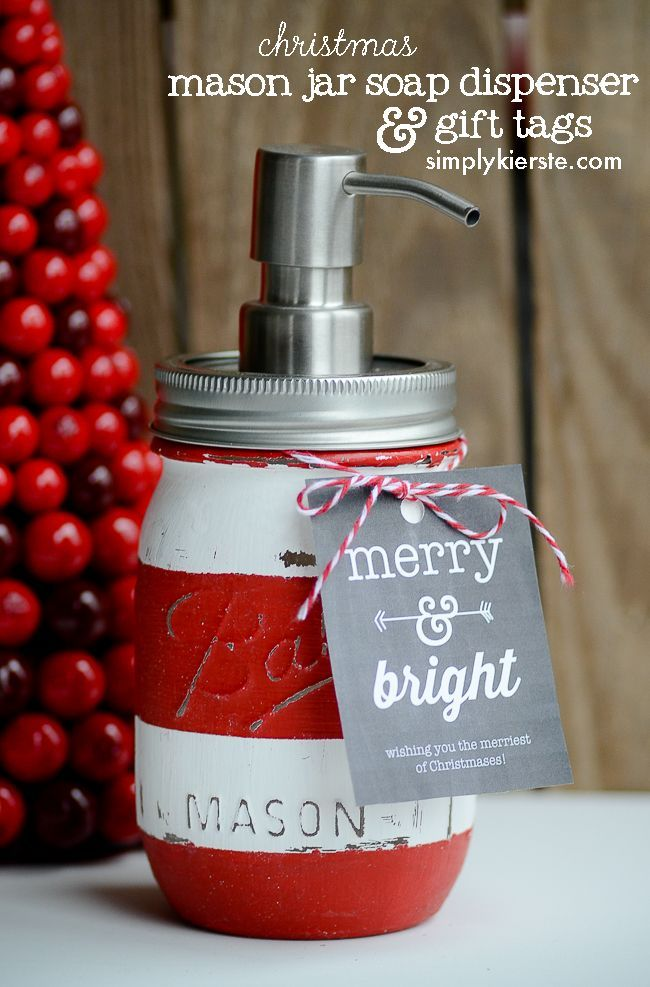 Christmas Mason Jar Soap Dispenser...super cute and easy!!    http://simplykierste.com