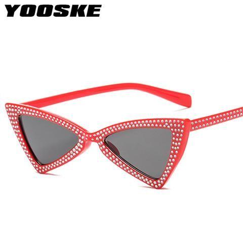 10a00a241065d YOOSKE Rinestone Cat Eye Sunglasses Women Men Brand designer Vintage Mirror  Sun Glasses For Female Male Eyewear UV400