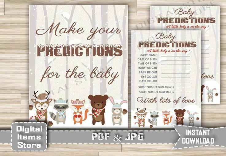 Winter Woodland Baby Predictions - Printable Baby Shower Forest Animals Snow Predictions for the baby - Instant Download - w2 by DigitalitemsShop on Etsy