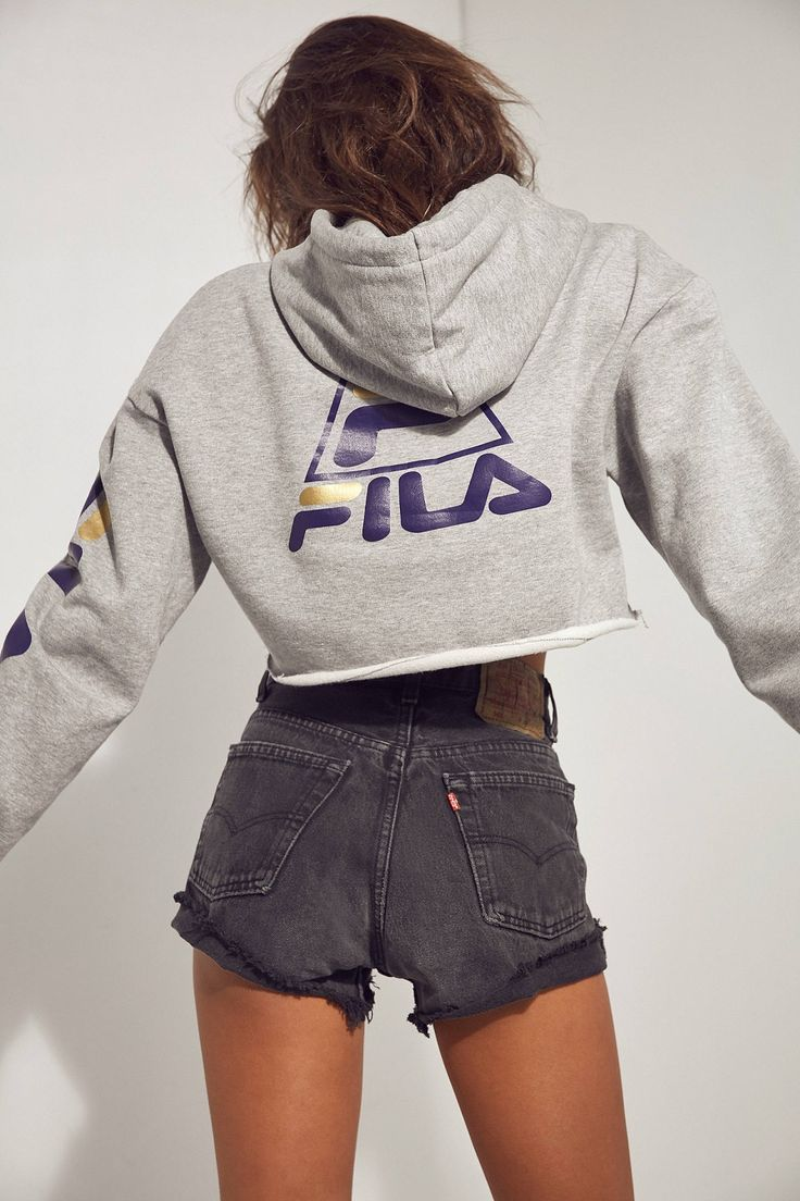 FILA + UO Basketball Cropped Hoodie Sweatshirt | Urban Outfitters