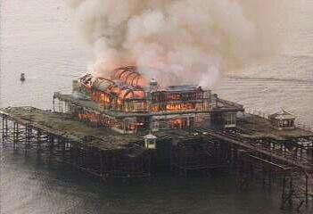 Brighton West Pavilion   History & images  Pavilion catches fire - 28th March 2003 - Image from the BBC's Brighton webcam  http://www.arthurlloyd.co.uk/Brighton/WestPier.htm
