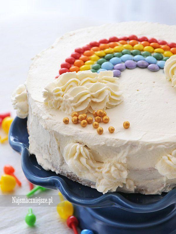 Tort z tęczą, tort, tęcza, biszkopt, urodziny, http://najsmaczniejsze.pl #food #cake #tort