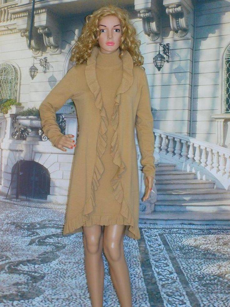 S Camel  Dress & Ruffled Duster Sweater Victorias Secret Moda Int'l Classy Set #VictoriasSecretModaInternational #2piecesweaterdresscoat #Classicanyoccasion