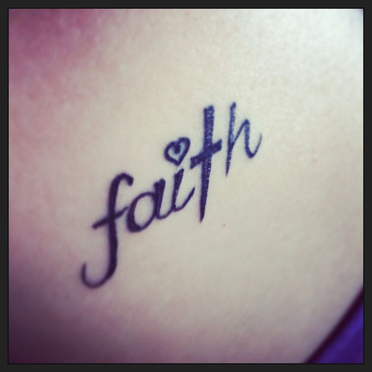 """Faith"" tattoo. T is the cross, heart as dot on the I. Would make it say ""walk by faith"""
