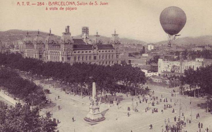 BARCELOFÍLIA: Fort Pienc. 1918.- Una postal de l'època on es pot veure l'elevació d'un globus sobre les instal·lacions de l'Sportsmen's Park. (Foto: Angel Toldrà Viza).