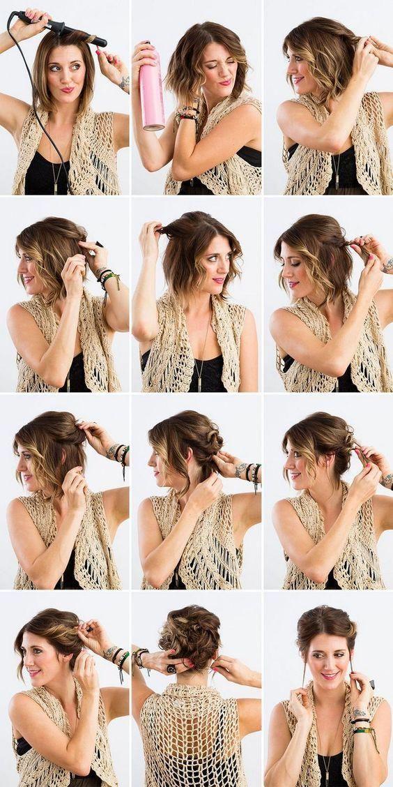 Easy Everyday Updos For Medium Hair Diyhairstyles Hairdos For Short Hair Short Hair Styles Short Hair Updo