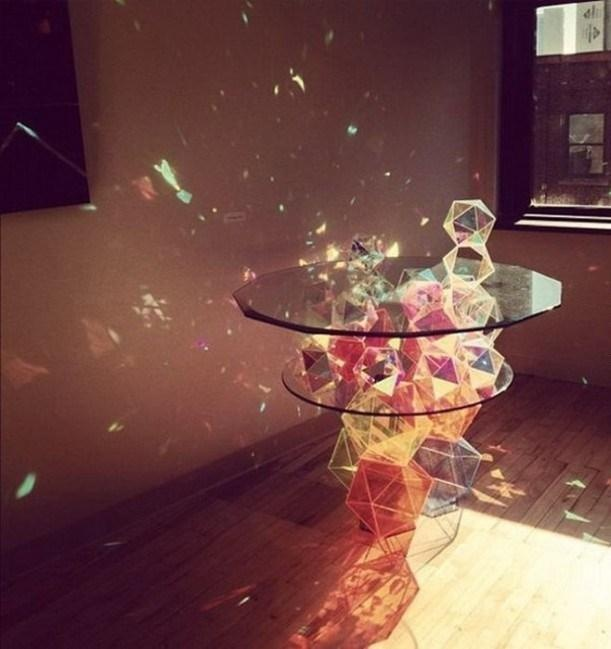 a crystal table, so neat ! the sunlight makes it even more amazing