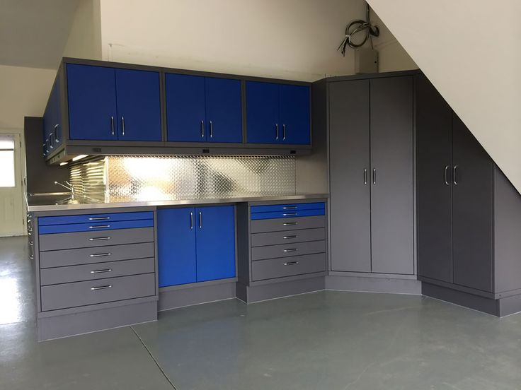Blue And Gray Garage Cabinetry.