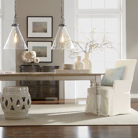 Ethan Allen New 2014 Miller Rustic Farmhouse Table, White Dayton  Slipcovered Guest Chairs