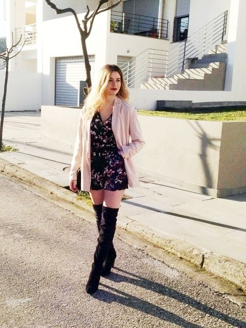 Knee High Boots  #fashion #outfit #outfits #beauty #bloggers #priestessofstyle #style #fashionpost #fashionblogger #priestess #priestess #greece #greek #blondehair #girl #knee #boots #playsuit #jumpsuit #coat #bag