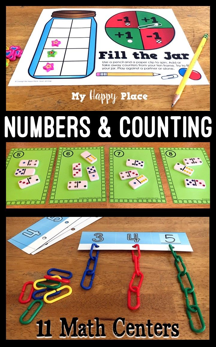 11 hands-on number and counting math centers for kindergarten. Great age-appropriate activities to develop number sense!