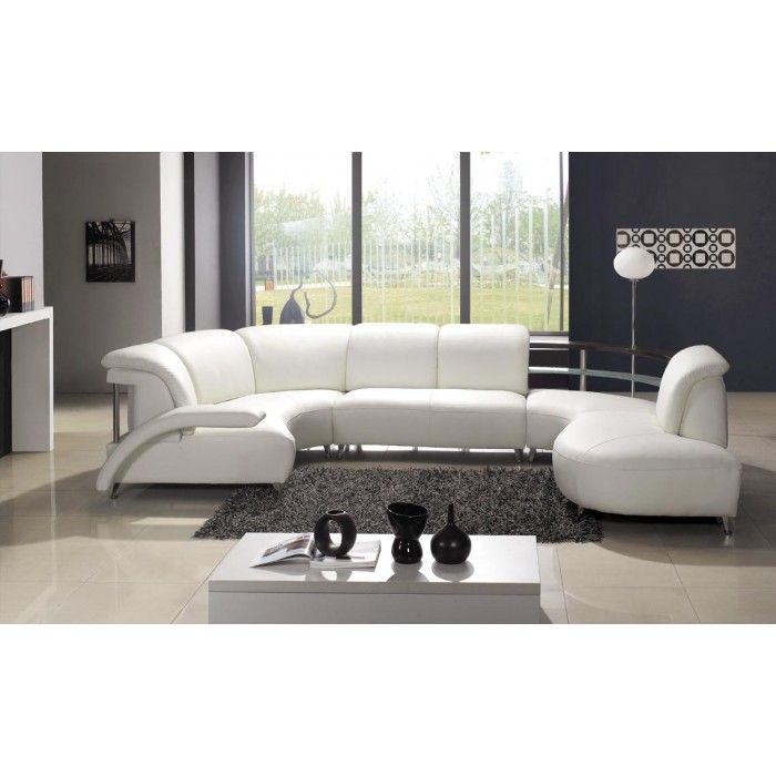 104 Modern White Leather Sectional Sofa  sc 1 st  Pinterest : white leather sectional modern - Sectionals, Sofas & Couches