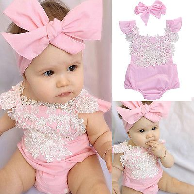 How adorable is this pink romper with lace embellishments? You won't be able to take your eyes off her, wearing this beautiful piece of clothing. Available in many sizes this infant lace jumpsuit will be perfect for any occassion!