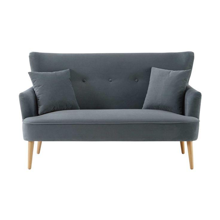 Small, stylish sofas for small spaces | Grey 2-seater velvet sofa Leon | Maisons du Monde