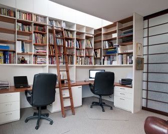 Size: 4m wide x 3.5m high x 0.7m deep  Materials: Tasmanian myrtle desk top, shelving and ladder. Painted single pack lacquer white