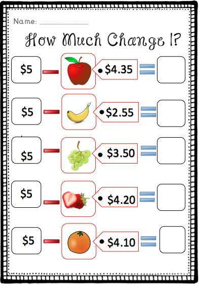 How much change? (Subtracting from $5) --- This resource consists of 3 worksheets that encourages students to practise calculating change from five dollars after items have been purchased. Enjoy! #reachingteachers