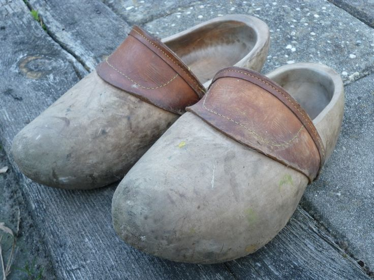 Real used wooden shoes