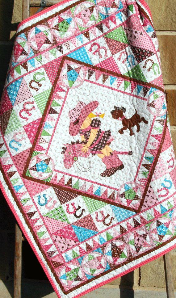 Cowgirl Quilt, Western Bandana, Girl Blanket, Country Brown Pink Green, Crib Bedding, Nursery Decor, Crib Cot Stars Horseshoes Stick Horse by SunnysideDesigns2