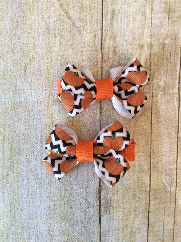 Chevron Pumpkins Boutique Bow Set by AdorableLittle1 on Etsy