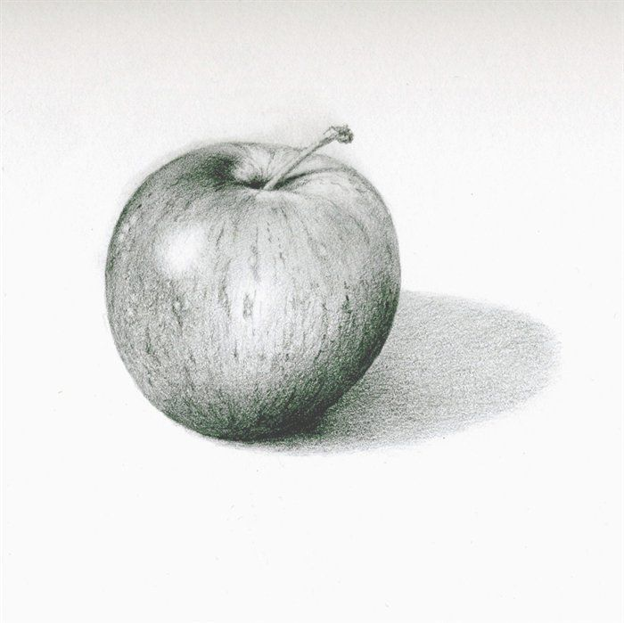 This pencil drawing of an apple shows form. It shows form because it makes the apple look 3d. It looks like it actually has an actual spherical shape instead of just being 2 dementional.
