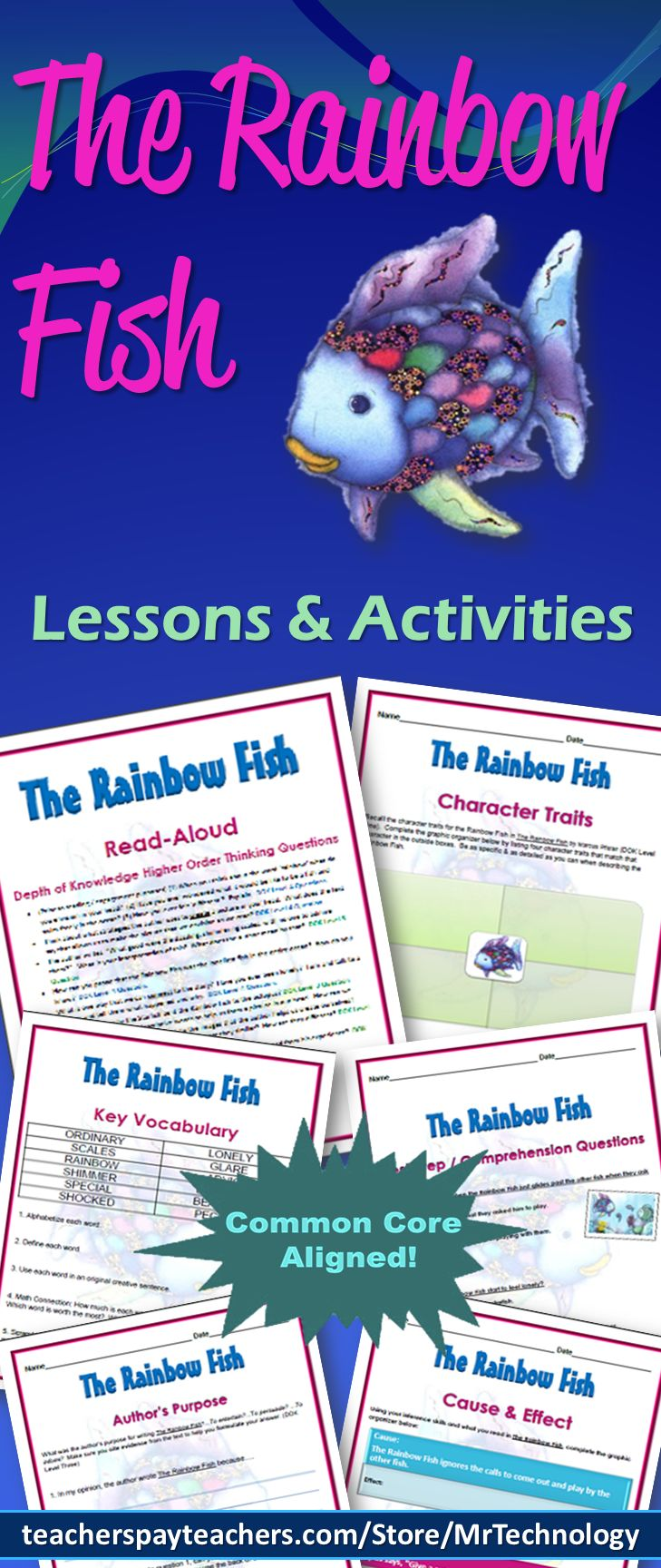 The Rainbow Fish is the most beautiful fish in the ocean. But he is too proud and becomes very lonely when none of the other fish want to be his friend, that is, until he gets advice from a wise octopus to give away some of his most prized possessions.  This 24-page packet includes: •	Depth of Knowledge (DOK) Higher Order Thinking Questions to use during your read-aloud •	Vocabulary Words •	A Vocabulary Word Search •	Vocabulary Classwork/Homework ideas •	Shared Reading Information