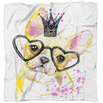 East Urban Home Animal Funny Dog With Large Glasses Blanket Size 71 W X 78 L Watercolor Dog Animal Art Dog Illustration