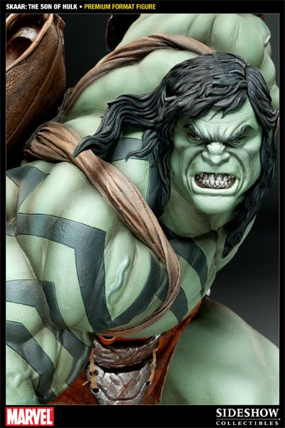 There's a new Jade Giant in town.    The Skaar Son of Hulk Premium Format Figure depicts the son of Hulk in staggering 1:4 scale. This monster of a statue stands 27 inches tall and is sure to be a highlight of your Marvel Comics statue collection.    Spinning out of the events of the classic Planet Hulk storyline, Skaar is hellbent on finding the Hulk, (the father that abandoned him on the planet Sakaar, thinking the child and his mother dead), and exacting his revenge.