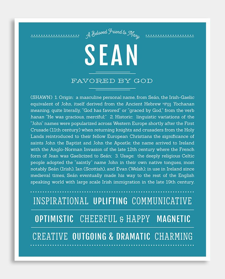 Sean   Classic Name Print   Classic names Personalized ...