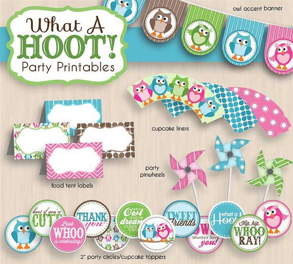 BABY OWL Shower Printable Package in Pink & Teal- Instant Download on Etsy, $25.00