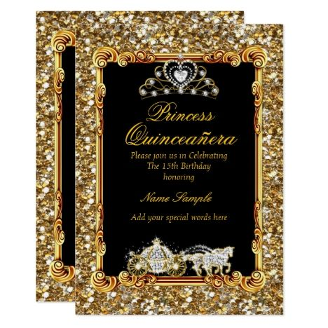 #quinceanera #15thbirthday #princessparty #quinceañera Quinceanera Gold Black Horse Carriage Fairytale Card