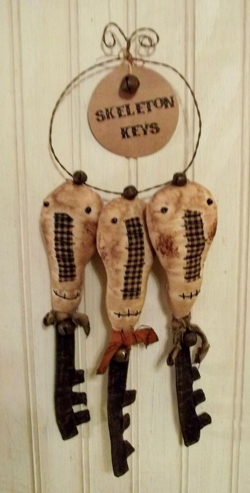 Primitive Grungy Three Skeleton Keys Halloween Doll Set #NaivePrimitive