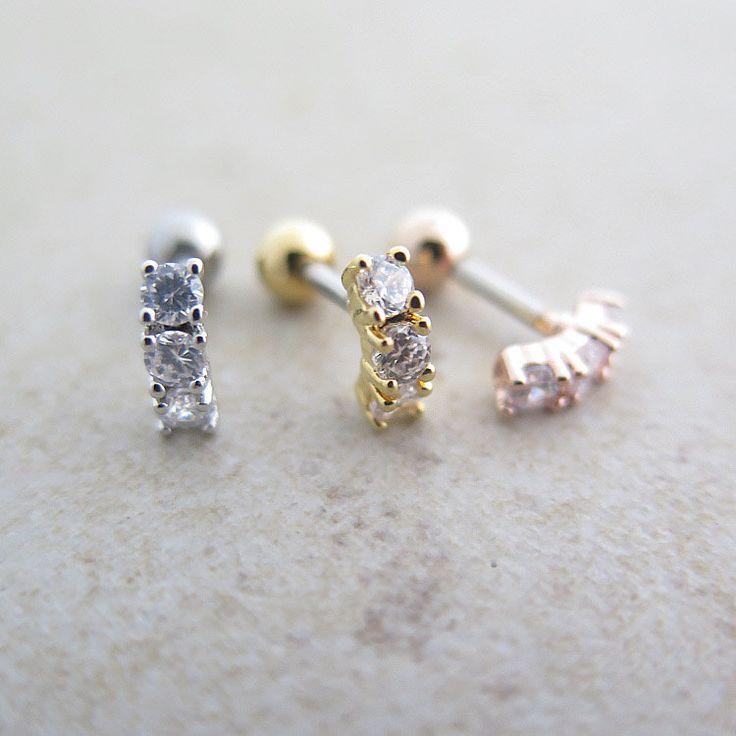 Cubic Bar Ear Piercing / Tragus Earring / Cartilage earring / Tragus stud / Single earring / piercing / Labret bar optional / Body jewelry by thinlight on Etsy