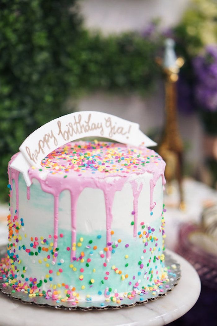 Confetti birthday cake from a Spring Inspired 1st Birthday Party on Kara's Party Ideas | KarasPartyIdeas.com (12)