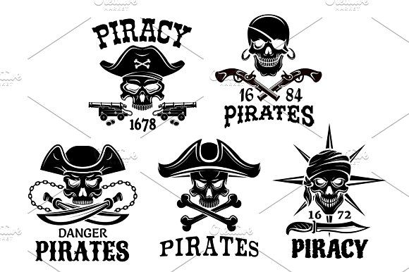 Pirate symbols and Jolly Roger vector icons set by Vector Tradition SM on @creativemarket